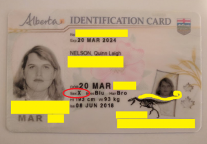 "the author's Alberta identification card. Circled in red is the word ""sex"" followed by the letter X."